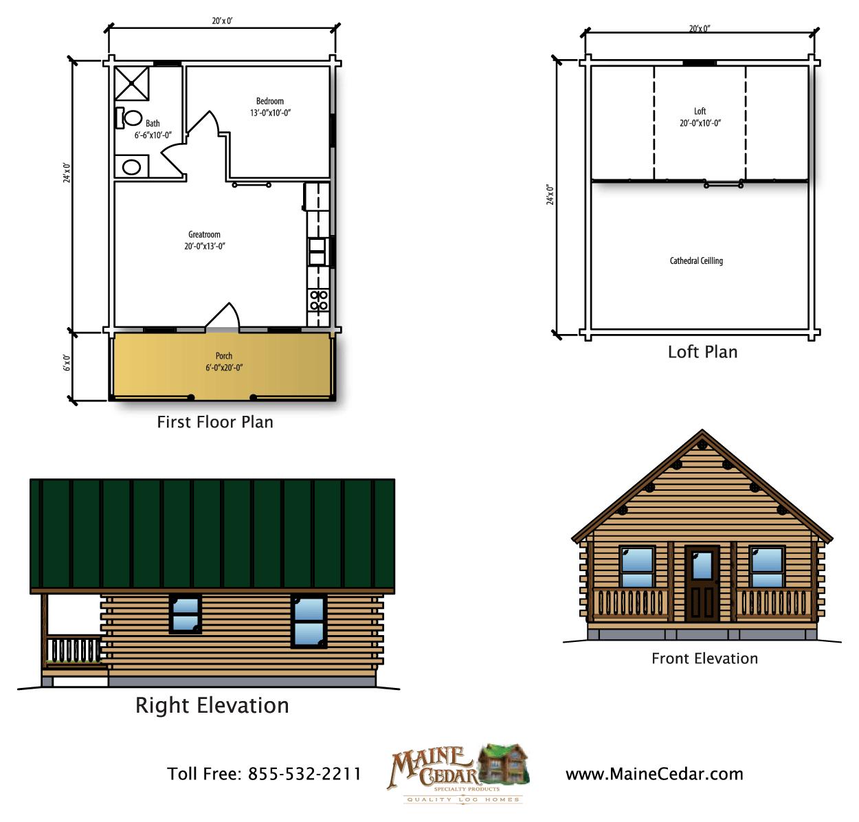 Brookside cedar log cabin maine cedar log homes for Cedar cabin floor plans