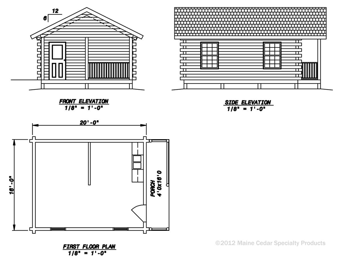 Outpost cedar log cabin maine cedar log homes for Cedar cabin floor plans
